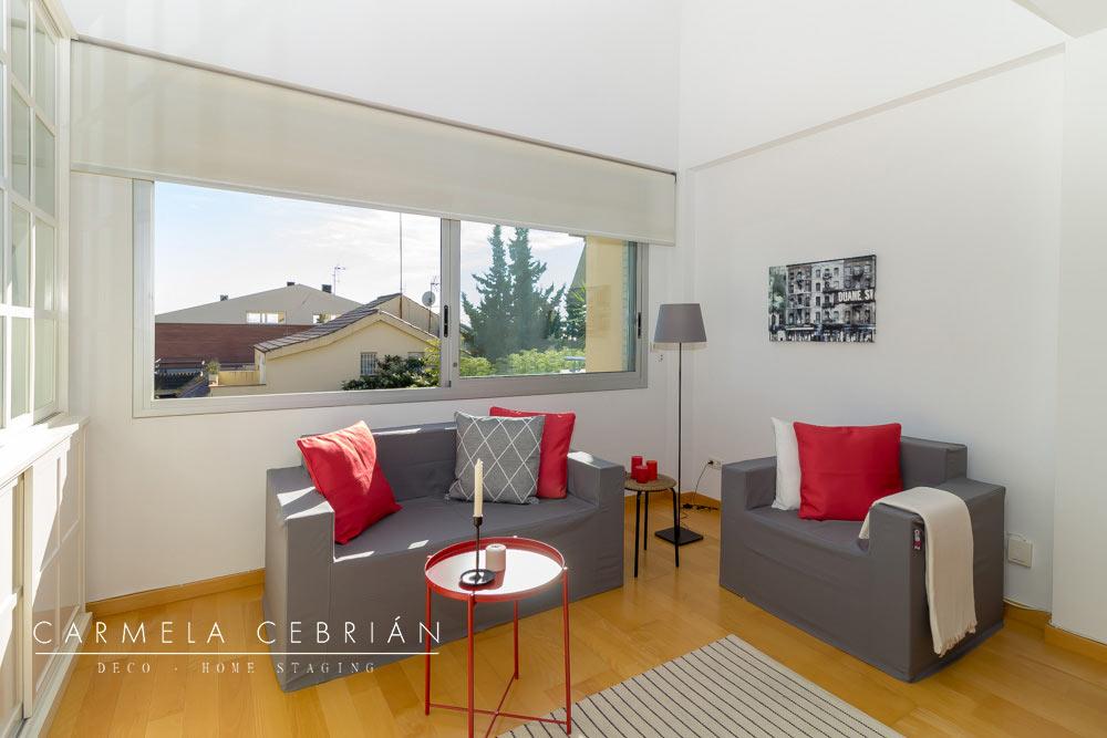 salón con dos sofás amueblado con aire y cartón